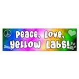 Hippie Yellow Lab Bumper Car Sticker