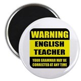 Warning english teacher sign 2.25&quot; Magnet (10 pack