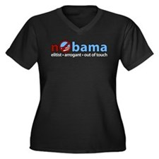 nObama Women's Plus Size V-Neck Dark T-Shirt