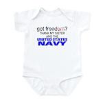 Got Freedom? Navy (Sister) Infant Creeper