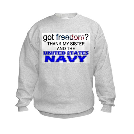 Got Freedom? Navy (Sister) Kids Sweatshirt