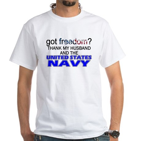Got Freedom? Navy (Husband) White T-Shirt