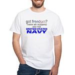 Got Freedom? Navy (Husband) White T-Shirt
