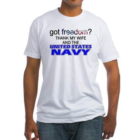 Got Freedom? Navy (Wife) Fitted T-Shirt