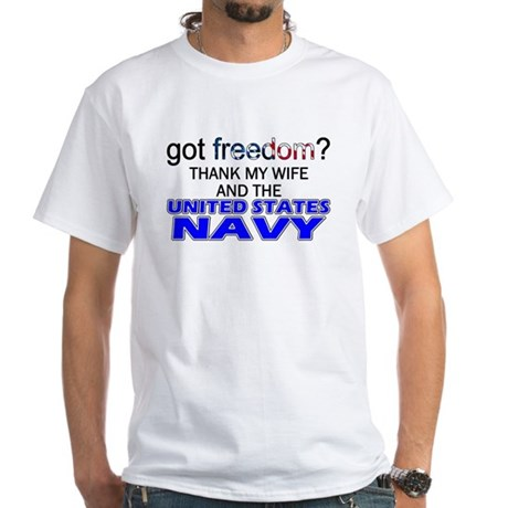 Got Freedom? Navy (Wife) White T-Shirt