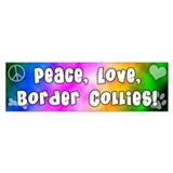 Hippie Border Collie Bumper Car Sticker