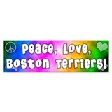 Hippie Boston Terrier Bumper Bumper Sticker