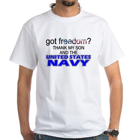 Got Freedom? NAVY (Son) White T-Shirt