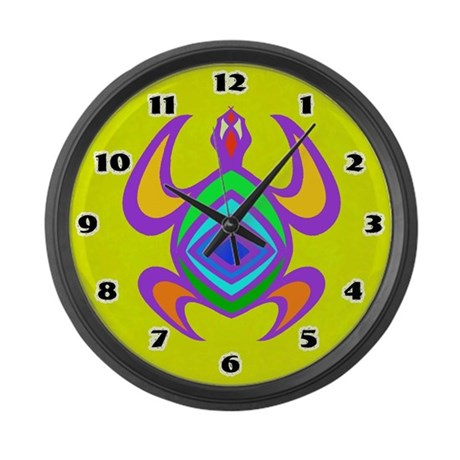 Turtle Symmetry Color Large Wall Clock