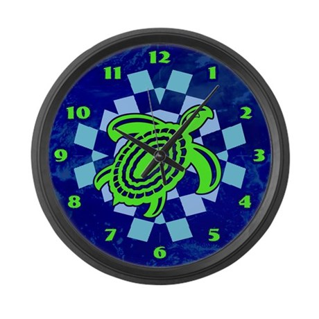 Green Cutout Turtle Large Wall Clock