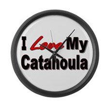 I Love My Catahoula Large Wall Clock
