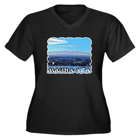 Mauna Kea Women's Plus Size V-Neck Dark T-Shirt