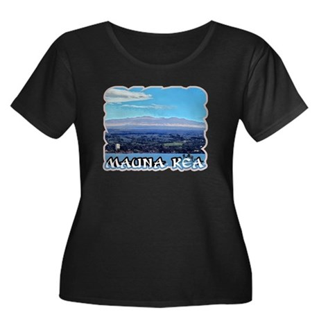 Mauna Kea Women's Plus Size Scoop Neck Dark T-Shir