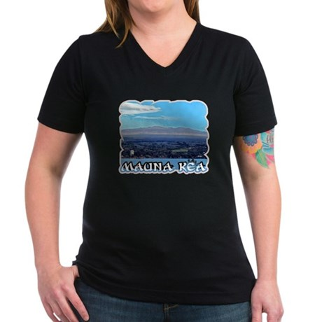 Mauna Kea Women's V-Neck Dark T-Shirt
