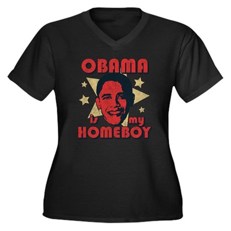 Obama is my Homeboy Womens Plus Size V-Neck Dark