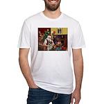 Santa/Norwegian Elkhound Fitted T-Shirt