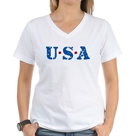 U.S.A. Women's V-Neck T-Shirt