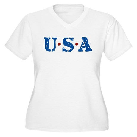 U.S.A. Women's Plus Size V-Neck T-Shirt