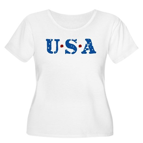 U.S.A. Women's Plus Size Scoop Neck T-Shirt
