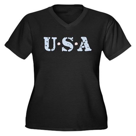 U.S.A. Women's Plus Size V-Neck Dark T-Shirt