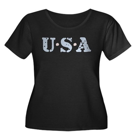 U.S.A. Women's Plus Size Scoop Neck Dark T-Shirt