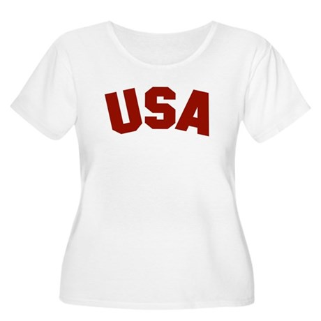 USA Women's Plus Size Scoop Neck T-Shirt