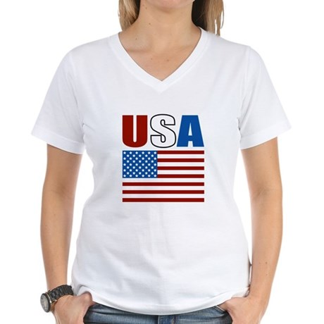 Patriotic USA Women's V-Neck T-Shirt
