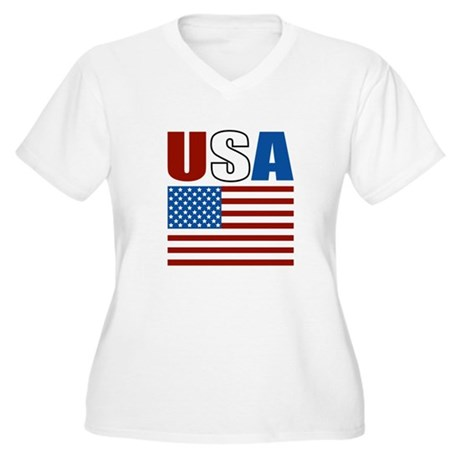Patriotic USA Women's Plus Size V-Neck T-Shirt