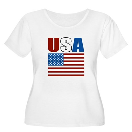 Patriotic USA Women's Plus Size Scoop Neck T-Shirt