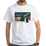 XmasMagic/2 Poodles (st) White T-Shirt