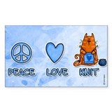 peace, love, knit Rectangle Sticker 10 pk)