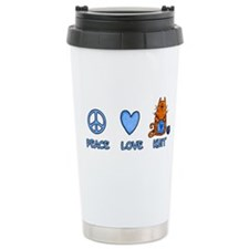 peace, love, knit Ceramic Travel Mug