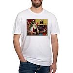 Santa's Black Pug Fitted T-Shirt