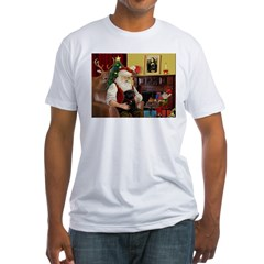 Santa's Black Pug Fitted T-Shirt