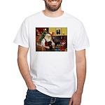 Santa's Black Pug White T-Shirt