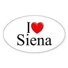 """I Love (Heart) Siena"" Oval Decal"