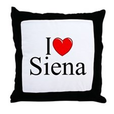 """I Love (Heart) Siena"" Throw Pillow"