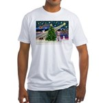 XmasMagic/Schnauzer (W) Fitted T-Shirt