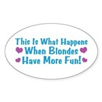 Pregnant Blonde Oval Sticker