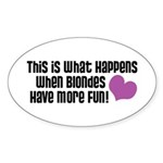 Pregnant Blonde Oval Sticker (10 pk)