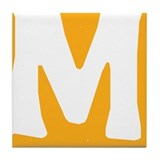 Stamped Letter M Tile Drink Coaster