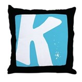 Stamped Letter K Throw Pillow
