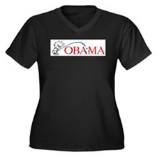 Piss on Obama Women's Plus Size V-Neck Dark T-Shir