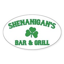 shenanigan's bar & grill Oval Decal