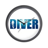 Diver Blue Wall Clock