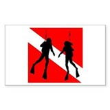 Divers on Flag Rectangle Decal