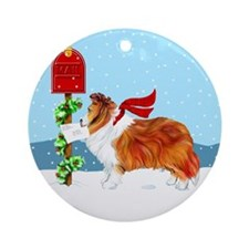 Sable Sheltie Mail Ornament (Round)