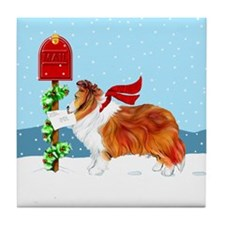 Sable Sheltie Mail Tile Coaster