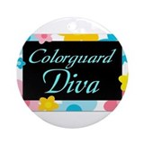 Colorguard Diva framed Ornament (Round)