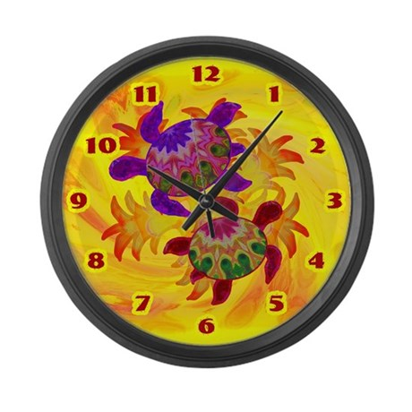 Flaming Turtles Large Wall Clock
